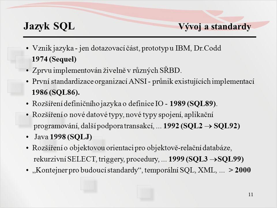 Jazyk SQL Vývoj a standardy