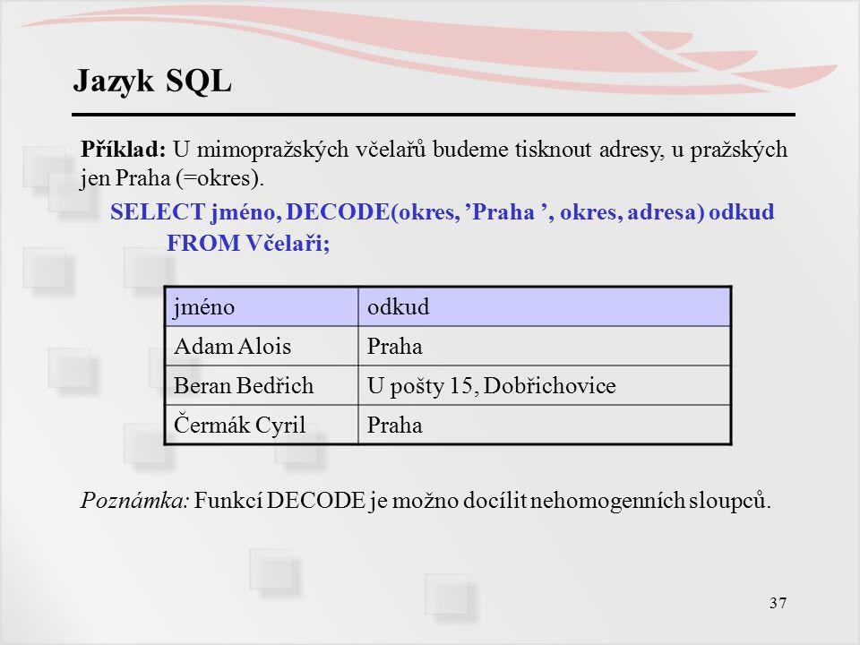 Jazyk SQL Příklad: U mimopražských včelařů budeme tisknout adresy, u pražských jen Praha (=okres).