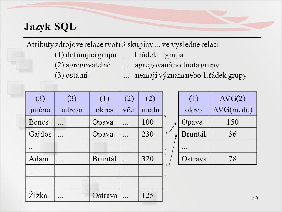 Jazyk SQL Atributy zdrojové relace tvoří 3 skupiny ... ve výsledné relaci. (1) definující grupu ... 1 řádek = grupa.