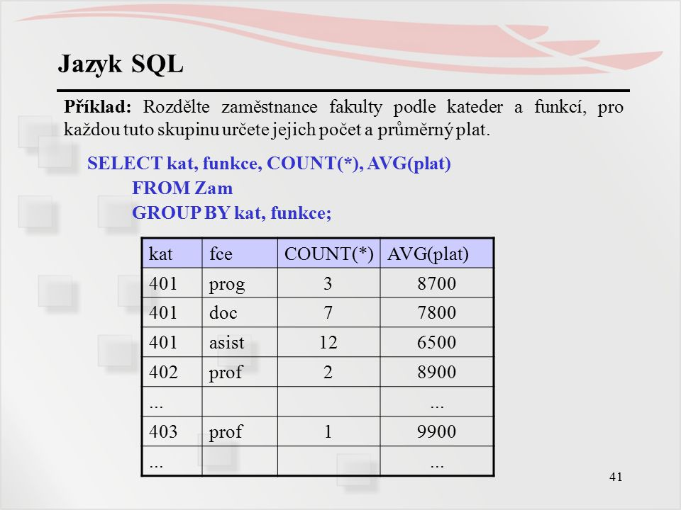 Jazyk SQL Příklad: Rozdělte zaměstnance fakulty podle kateder a funkcí, pro každou tuto skupinu určete jejich počet a průměrný plat.