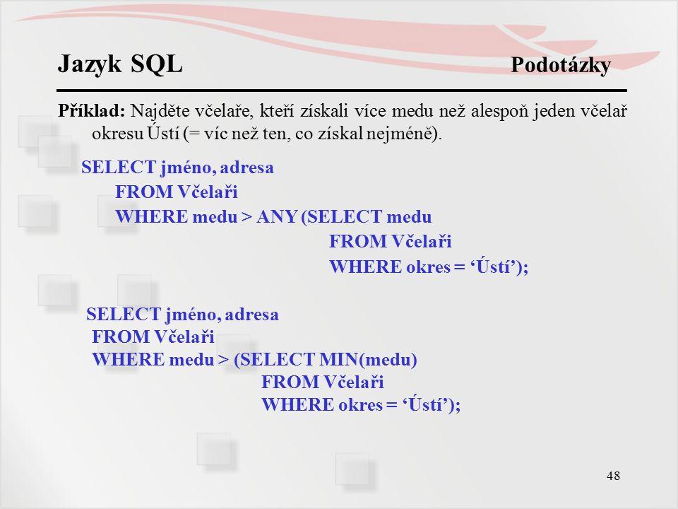 Jazyk SQL Podotázky