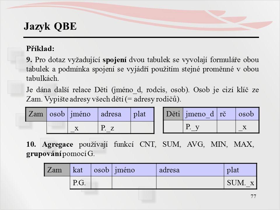 Jazyk QBE Příklad: