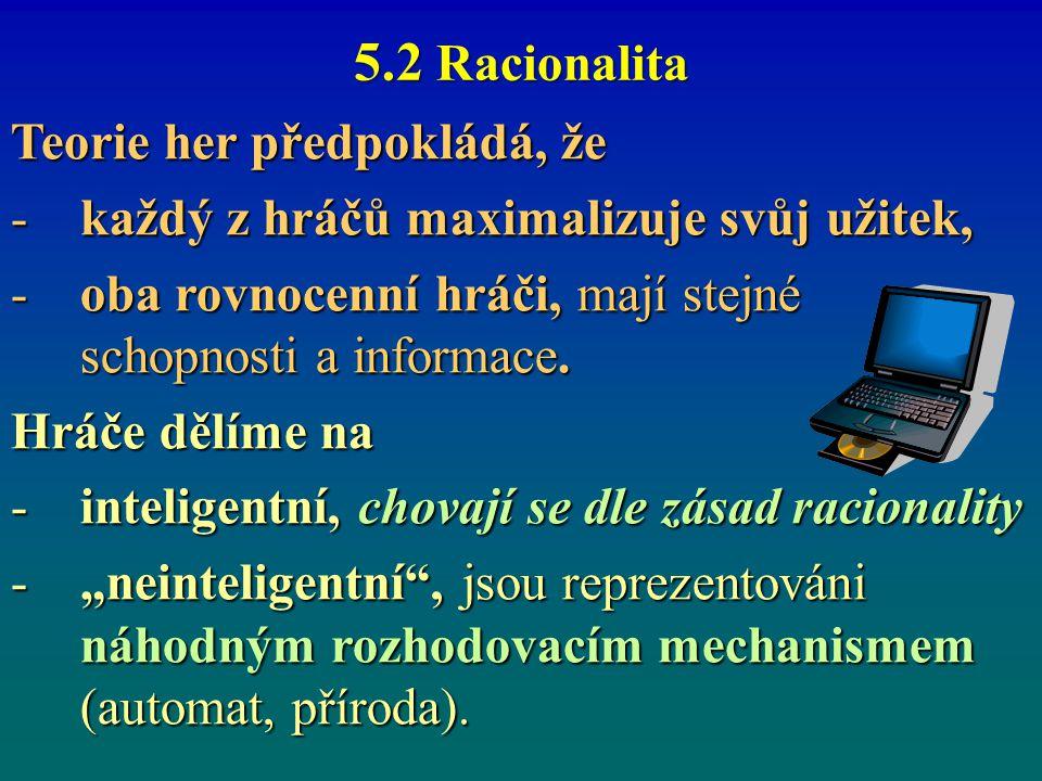 5.2 Racionalita Teorie her předpokládá, že