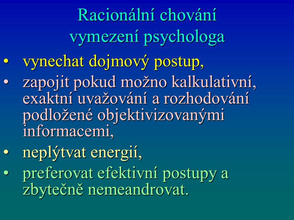Racionální chování vymezení psychologa