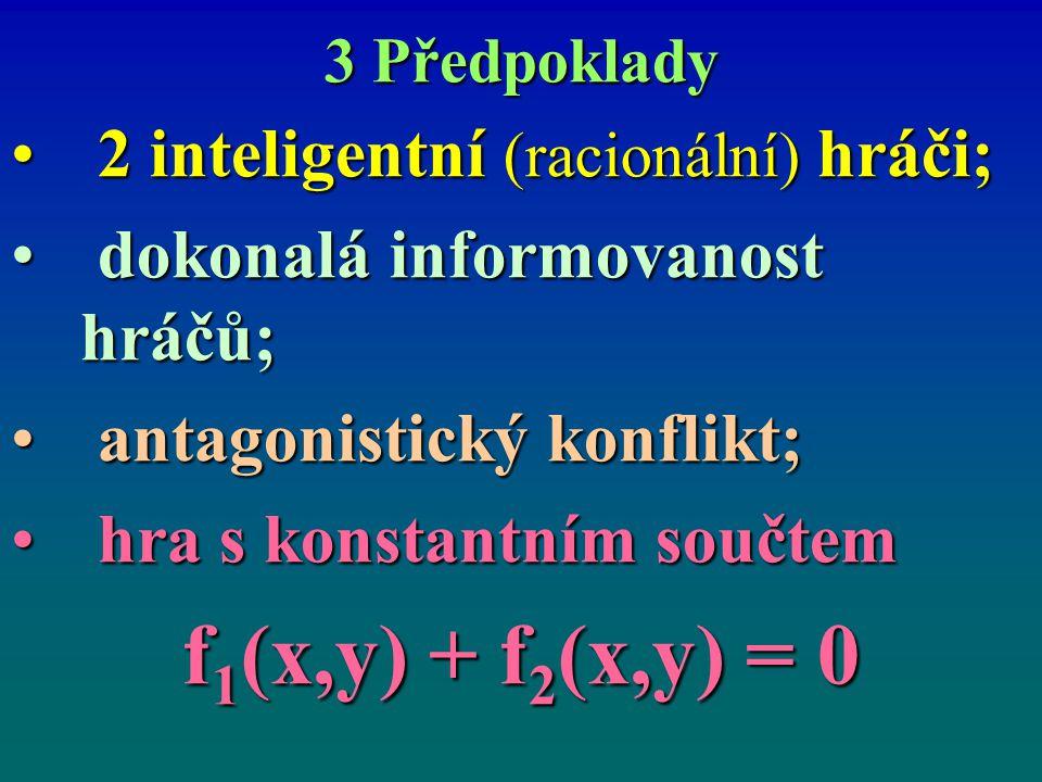 f1(x,y) + f2(x,y) = 0 2 inteligentní (racionální) hráči;