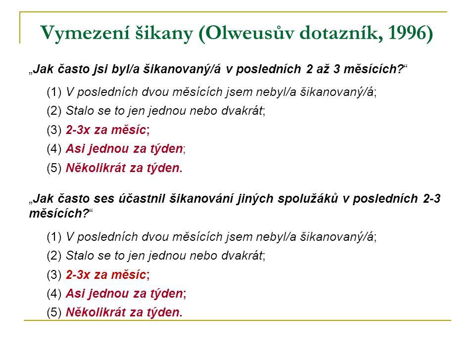 Vymezení šikany (Olweusův dotazník, 1996)