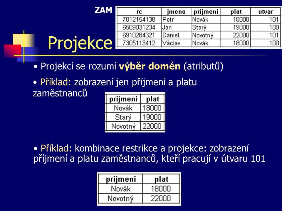 Projekce Projekcí se rozumí výběr domén (atributů)