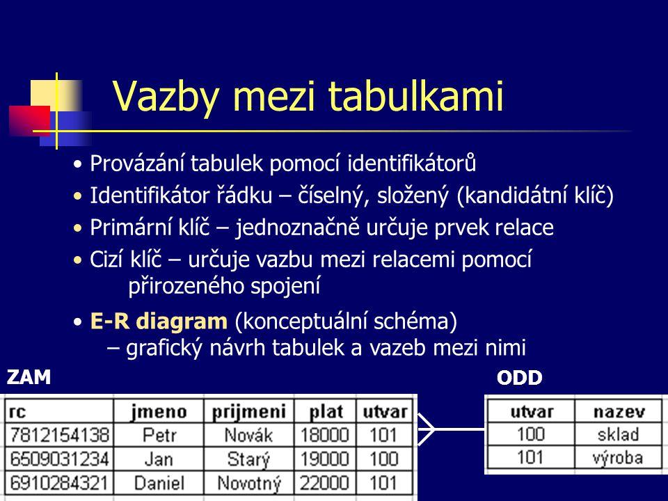 Vazby mezi tabulkami Provázání tabulek pomocí identifikátorů