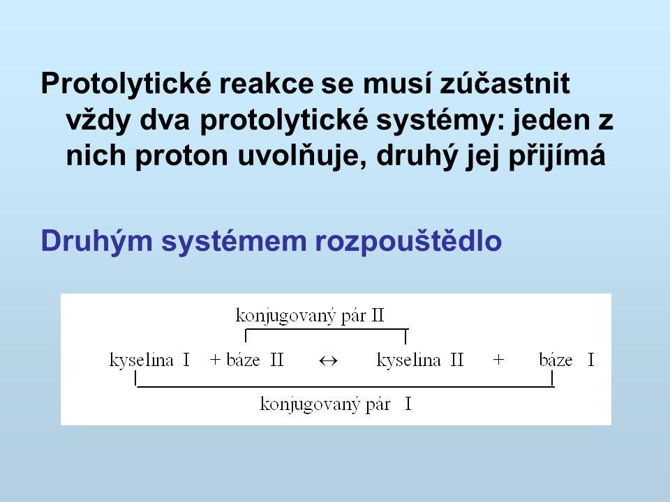 Protolytické reakce se musí zúčastnit vždy dva protolytické systémy: jeden z nich proton uvolňuje, druhý jej přijímá