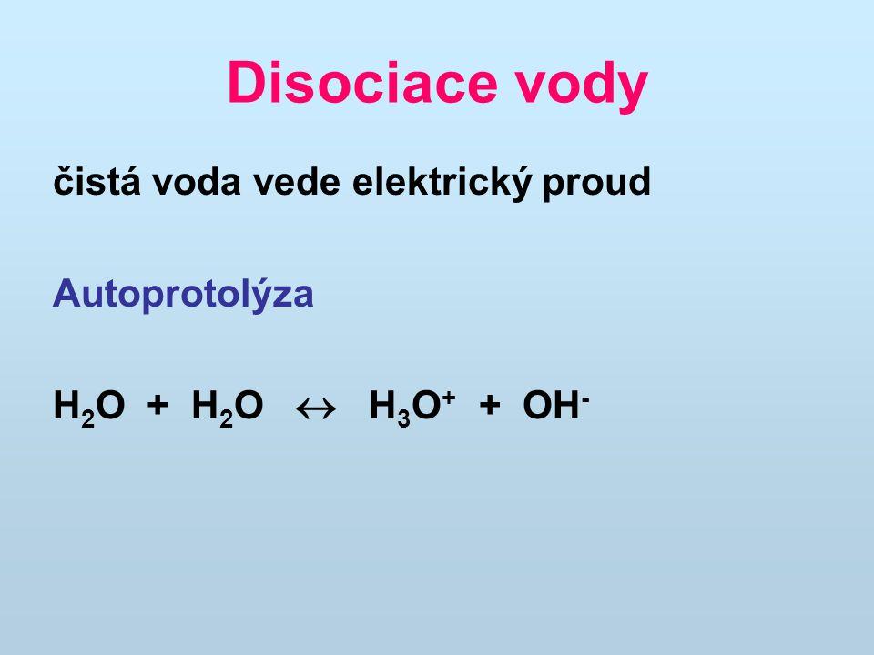 Disociace vody čistá voda vede elektrický proud Autoprotolýza
