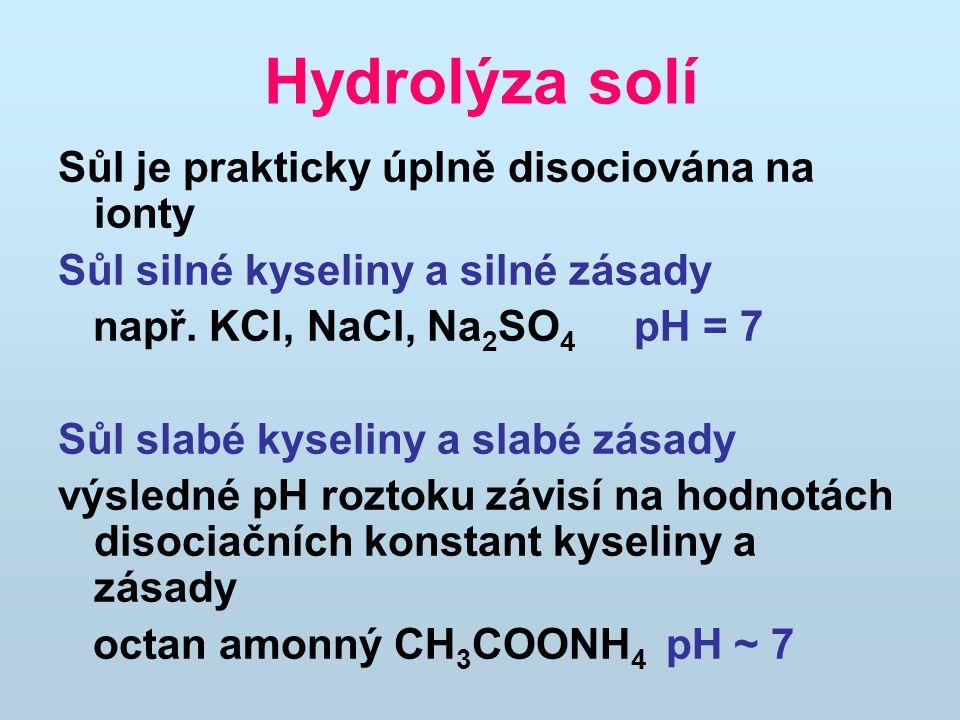 Hydrolýza solí Sůl je prakticky úplně disociována na ionty