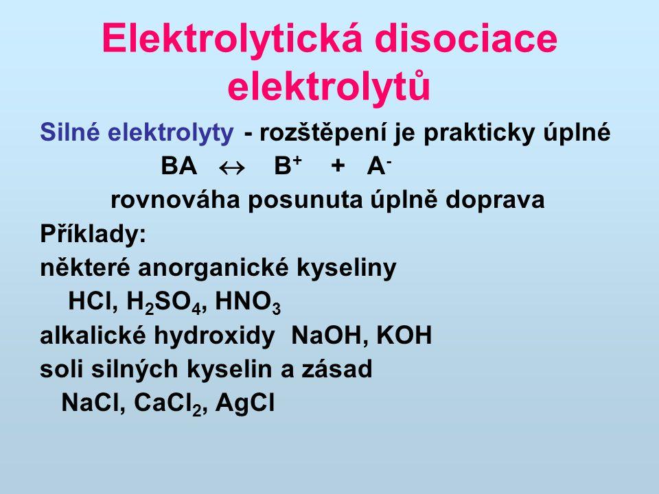 Elektrolytická disociace elektrolytů
