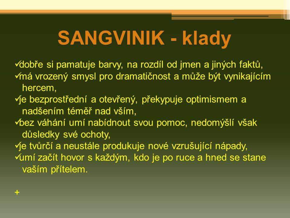 SANGVINIK - klady dobře si pamatuje barvy, na rozdíl od jmen a jiných faktů, má vrozený smysl pro dramatičnost a může být vynikajícím.