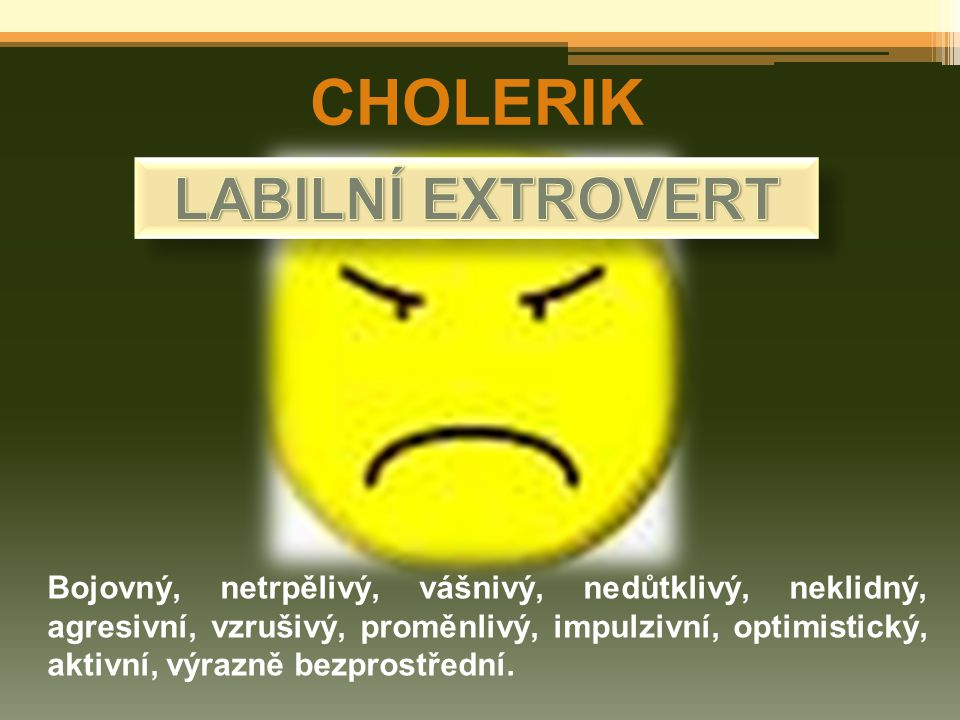 CHOLERIK LABILNÍ EXTROVERT