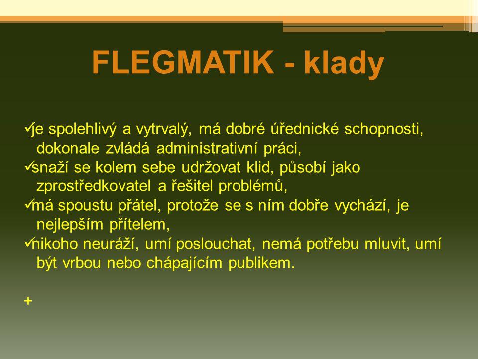 FLEGMATIK - klady je spolehlivý a vytrvalý, má dobré úřednické schopnosti, dokonale zvládá administrativní práci,