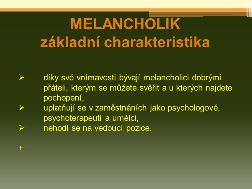 MELANCHOLIK základní charakteristika