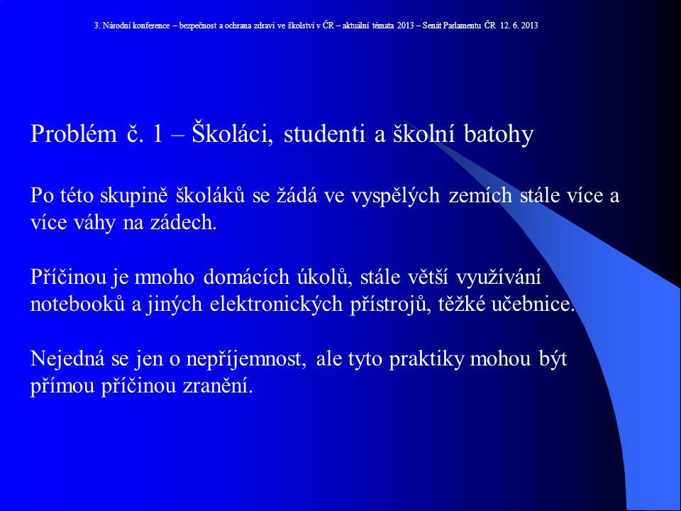 Problém č. 1 – Školáci, studenti a školní batohy
