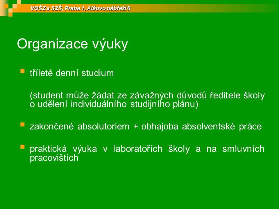 Organizace výuky tříleté denní studium
