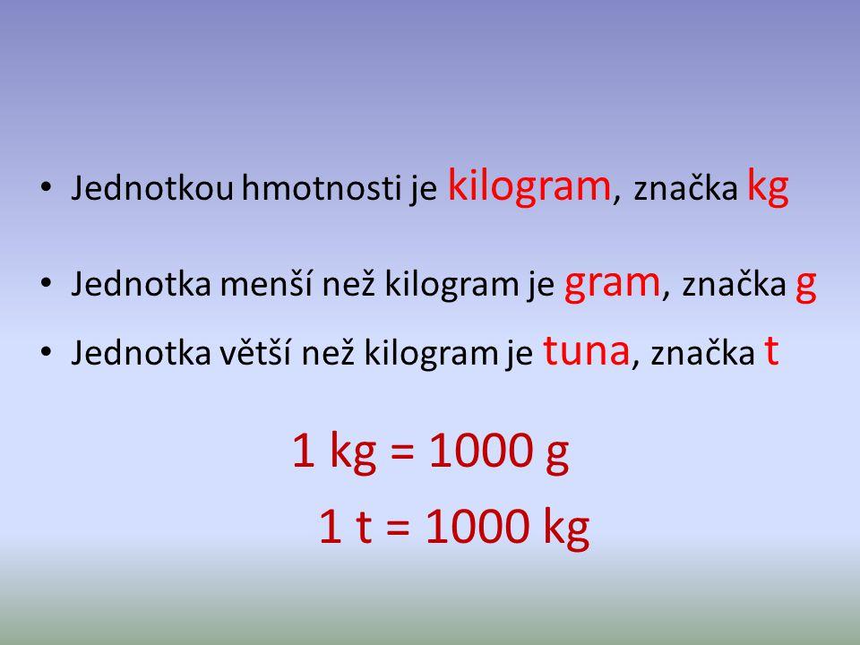 1 kg = 1000 g 1 t = 1000 kg Jednotkou hmotnosti je kilogram, značka kg