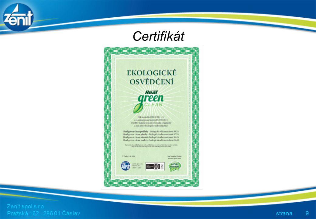 Certifikát Zenit,spol.s r.o. Pražská 162 , 286 01 Čáslav strana