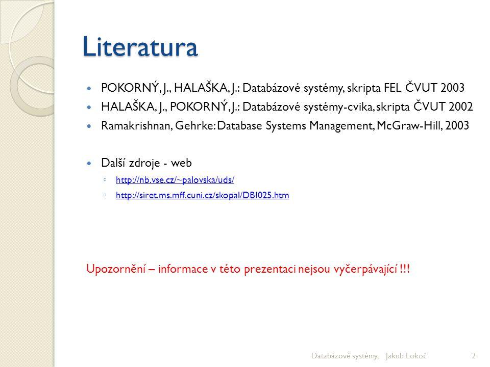 Literatura POKORNÝ, J., HALAŠKA, J.: Databázové systémy, skripta FEL ČVUT 2003.