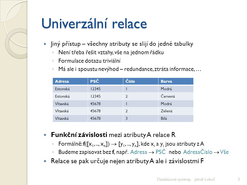 Univerzální relace Funkční závislosti mezi atributy A relace R