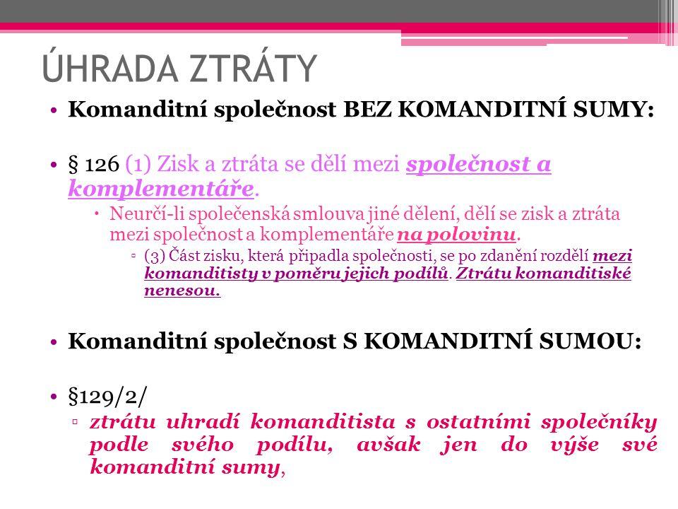 ÚHRADA ZTRÁTY Komanditní společnost BEZ KOMANDITNÍ SUMY: