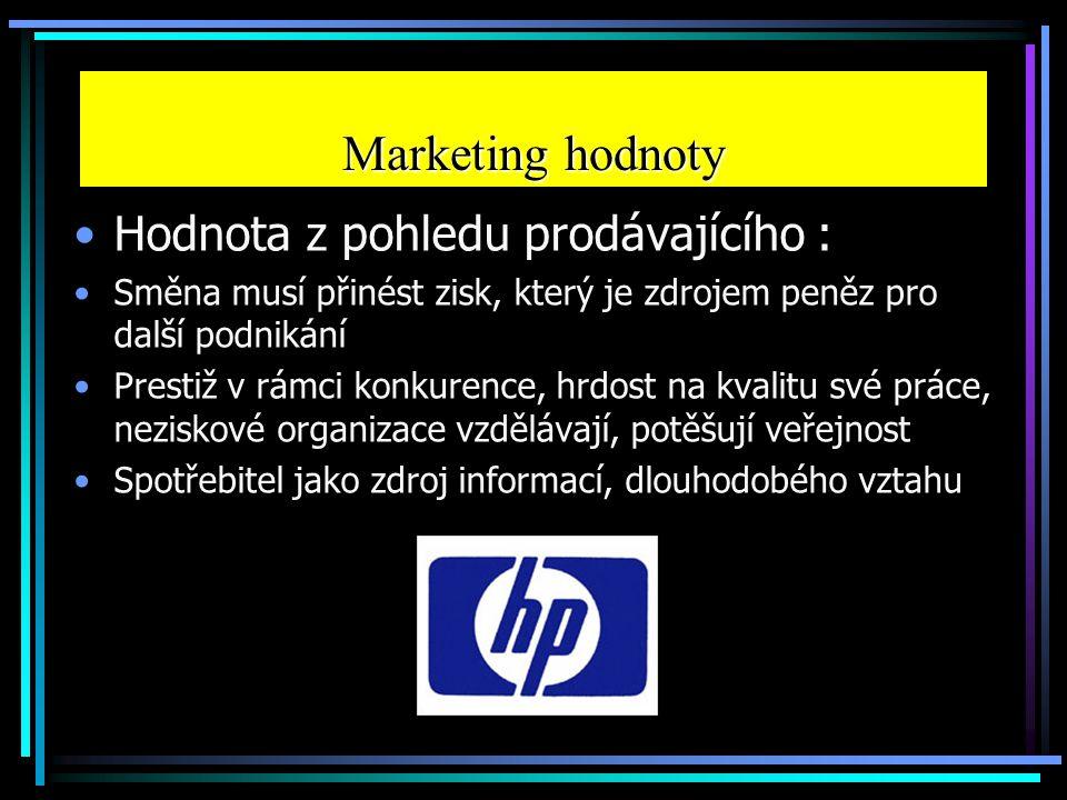 Marketing hodnoty Hodnota z pohledu prodávajícího :