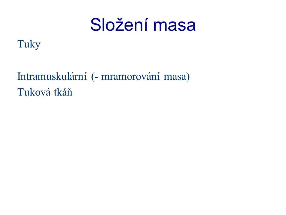 Složení masa Tuky Intramuskulární (- mramorování masa) Tuková tkáň