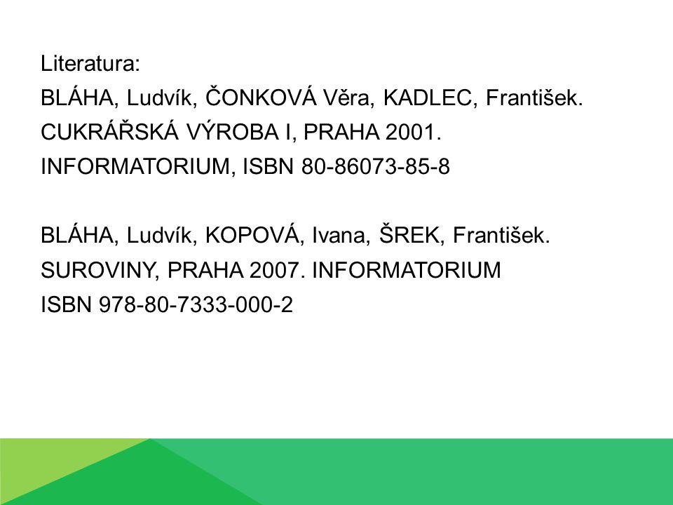 Literatura: BLÁHA, Ludvík, ČONKOVÁ Věra, KADLEC, František. CUKRÁŘSKÁ VÝROBA I, PRAHA 2001. INFORMATORIUM, ISBN 80-86073-85-8.