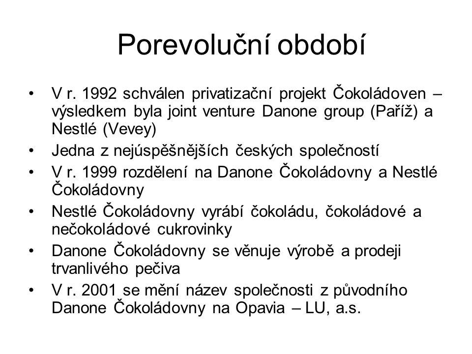 Porevoluční období V r. 1992 schválen privatizační projekt Čokoládoven – výsledkem byla joint venture Danone group (Paříž) a Nestlé (Vevey)