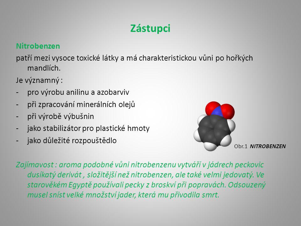 Zástupci Nitrobenzen. patří mezi vysoce toxické látky a má charakteristickou vůni po hořkých mandlích.