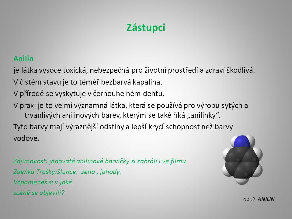 Zástupci Anilin. je látka vysoce toxická, nebezpečná pro životní prostředí a zdraví škodlivá. V čistém stavu je to téměř bezbarvá kapalina.