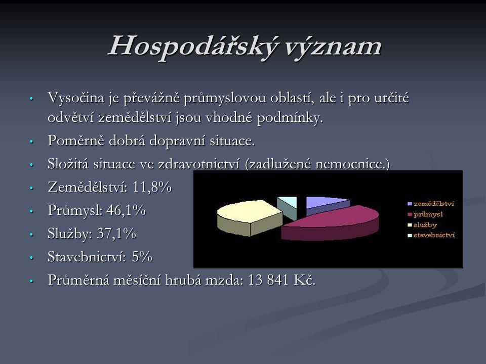 Hospodářský význam Vysočina je převážně průmyslovou oblastí, ale i pro určité odvětví zemědělství jsou vhodné podmínky.