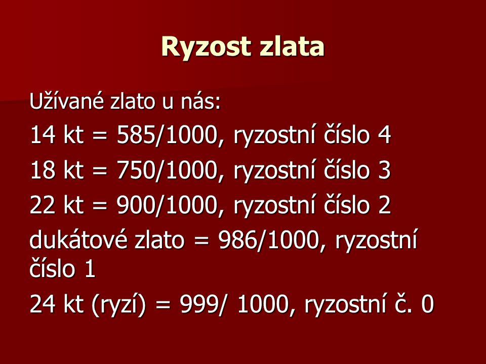 Ryzost zlata 14 kt = 585/1000, ryzostní číslo 4