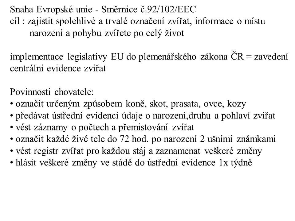 Snaha Evropské unie - Směrnice č.92/102/EEC