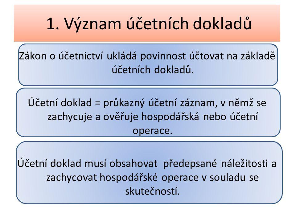 1. Význam účetních dokladů