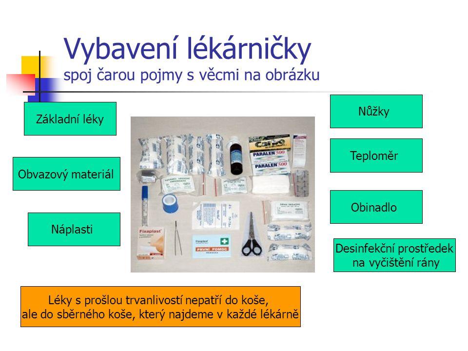 Vybavení lékárničky spoj čarou pojmy s věcmi na obrázku