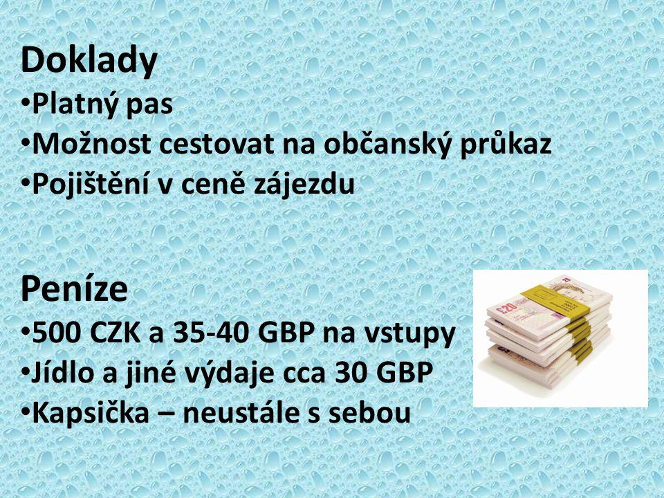 Doklady Peníze Platný pas Možnost cestovat na občanský průkaz