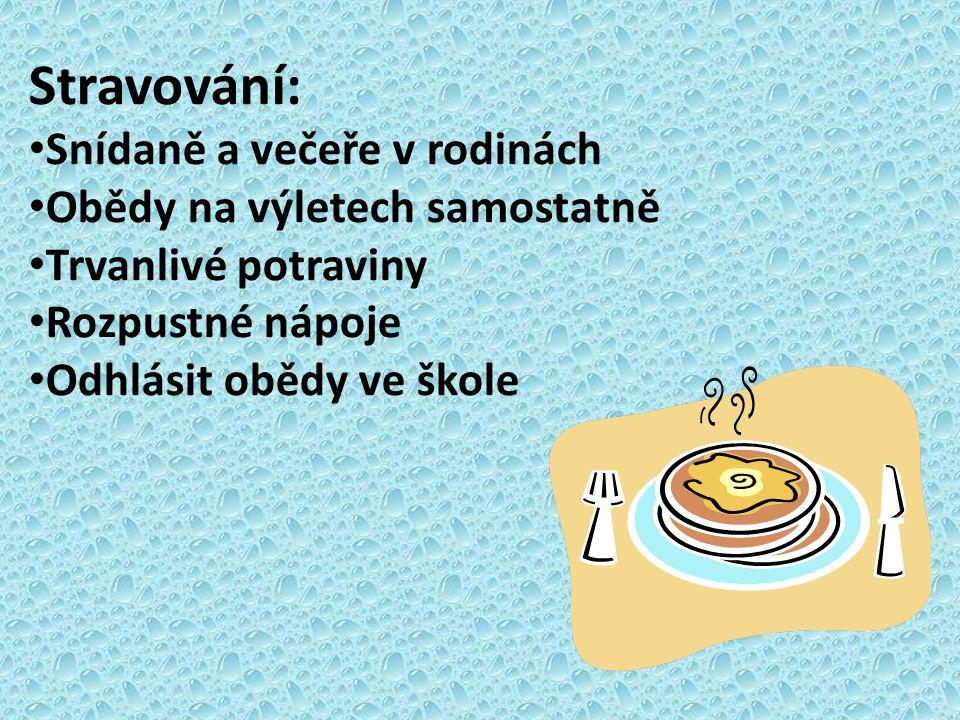 Stravování: Snídaně a večeře v rodinách Obědy na výletech samostatně