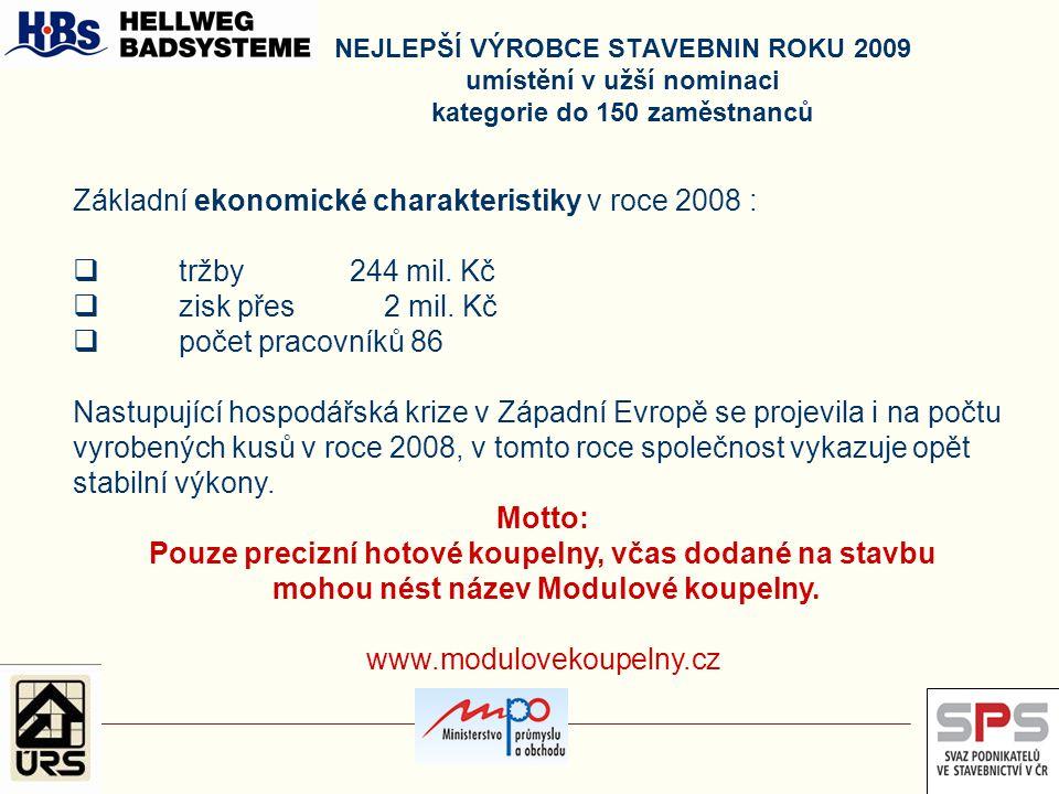 Základní ekonomické charakteristiky v roce 2008 : tržby 244 mil. Kč