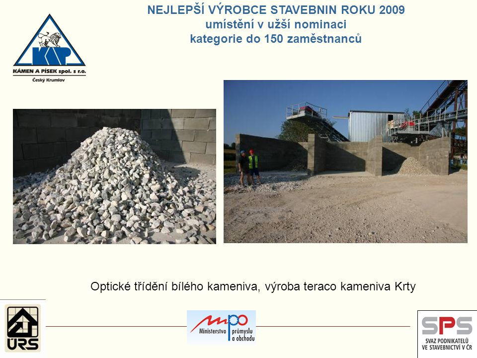 Optické třídění bílého kameniva, výroba teraco kameniva Krty