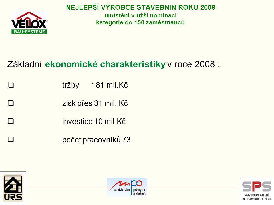 Základní ekonomické charakteristiky v roce 2008 :