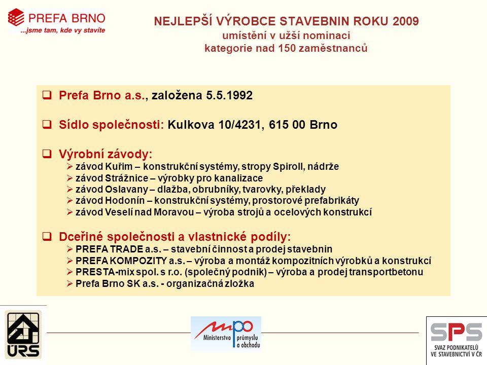 Sídlo společnosti: Kulkova 10/4231, 615 00 Brno Výrobní závody: