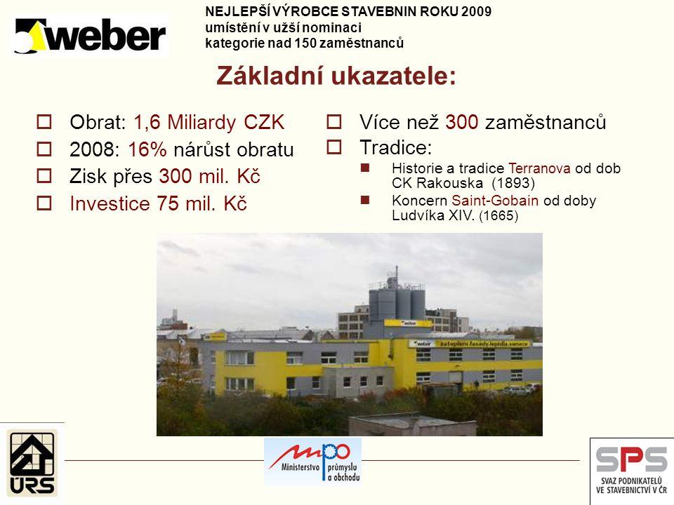 Základní ukazatele: Obrat: 1,6 Miliardy CZK Více než 300 zaměstnanců