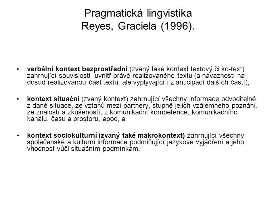 Pragmatická lingvistika Reyes, Graciela (1996).