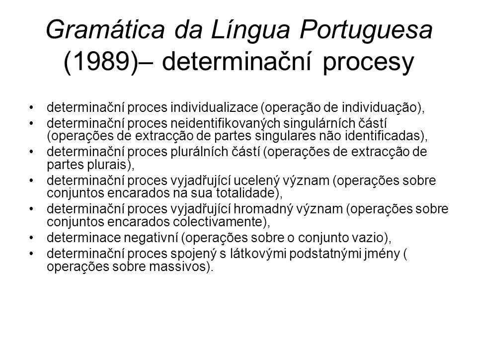 Gramática da Língua Portuguesa (1989)– determinační procesy