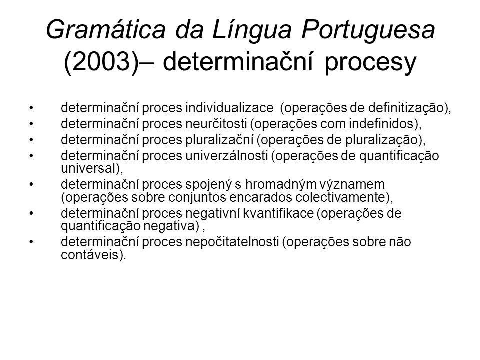 Gramática da Língua Portuguesa (2003)– determinační procesy