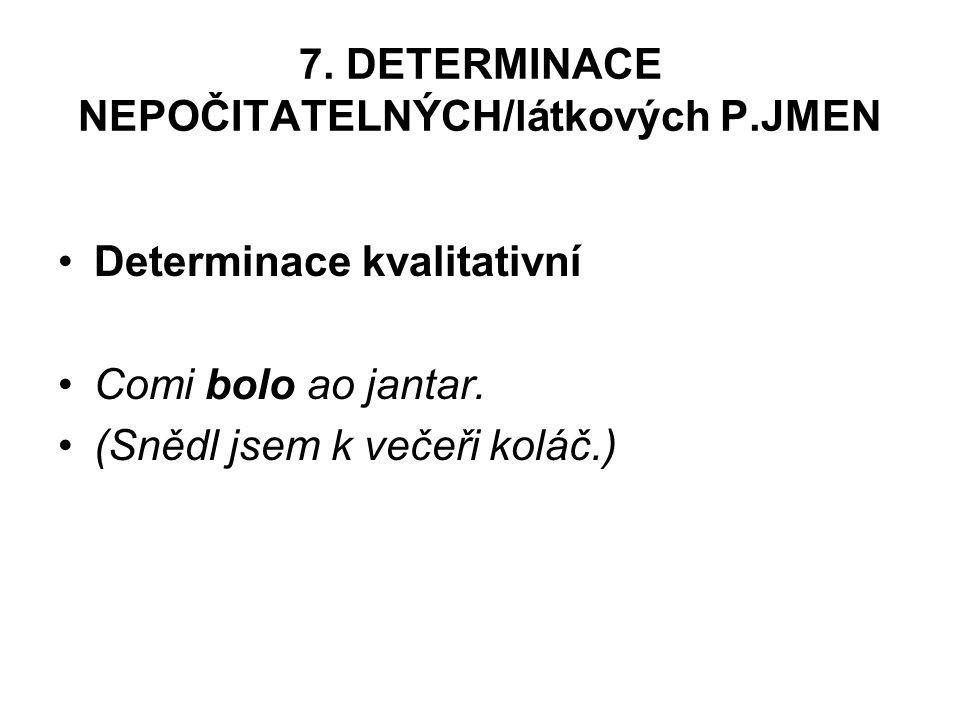 7. DETERMINACE NEPOČITATELNÝCH/látkových P.JMEN