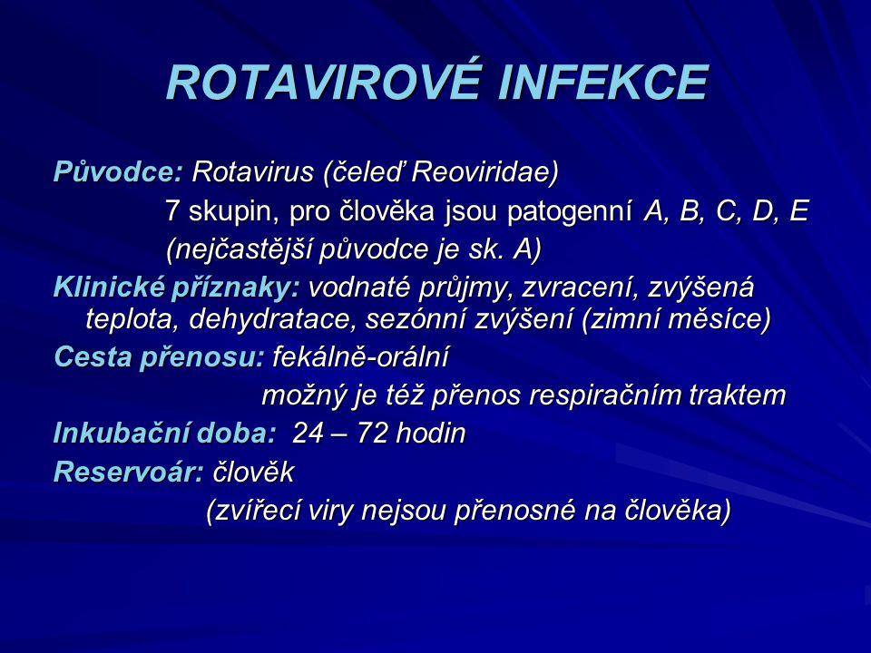 ROTAVIROVÉ INFEKCE Původce: Rotavirus (čeleď Reoviridae)